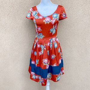 Alice Moon Floral Short Sleeves Fit And Flare Dres
